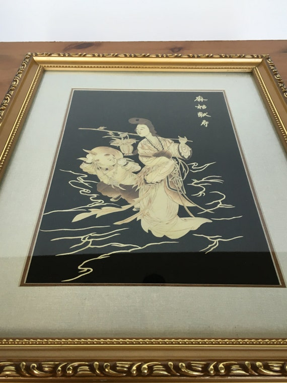 Hand carved geisha framed asian art wooden inlay picture