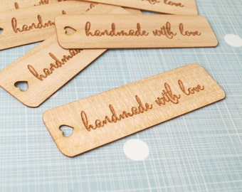 Handmade with love tags, wooden veneer tags, craft tags, thank you tags, packaging tags, seller supplies, kraft tags, engraved tags, 25 pc