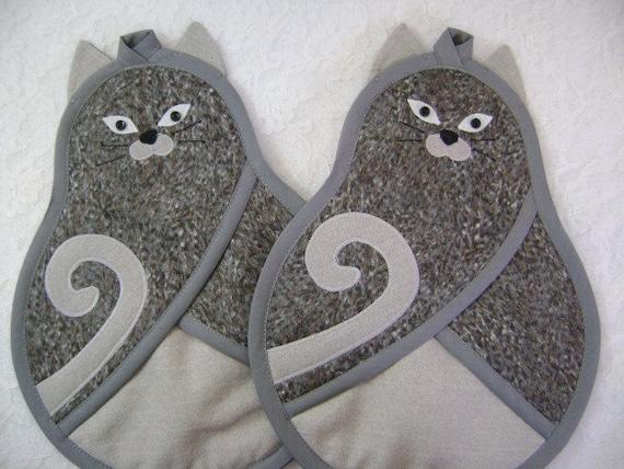 Gray Cat Potholders Kitty Cat Potholders Cat Oven Mitts Cat