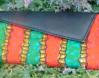 African Fabric (Ankara) & Leather Clutch Bag
