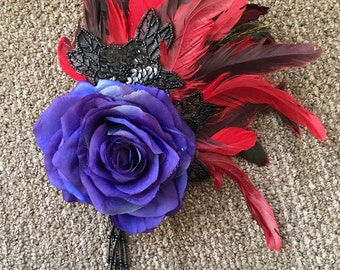 Inky blue rose fascinator