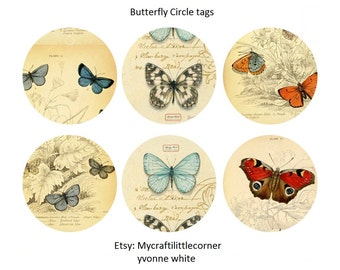 Vintage Butterfly Circle tags Digital Prints *** INSTANT DOWNLOAD