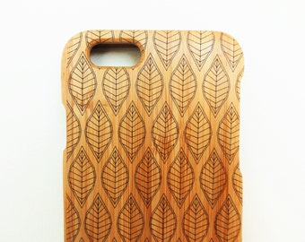 WOODEN PHONE CASE leaf laser etched bamboo (wooden iPhone 5 case, wooden iPhone 5s case)