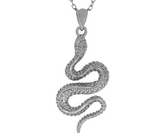 """Sterling Silver snake pendant with 18"""" chain. animal jewelry, snake charm."""