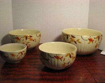 Vintage Set of 4 Hall Autumn Leaf Mixing Bowls