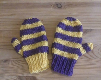 Purple and Yellow Striped mittens 3-5years