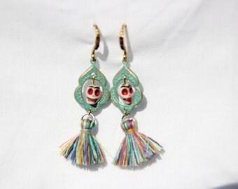 Frida Khalo sugarskull earrings! day of deat earrings! Aretes del dia de los muertos!