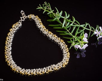 Silver'n'gold chain maille necklace