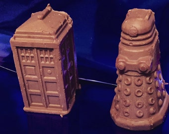 3D Solid Chocolate Tardis and Dalek's