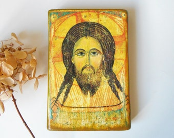 Jesus Religious icon Orthodox Catholic Byzantine Russian icon Jesus Christian art wood 3.3 X 4 3/4 Personalized Orthodox Catholic gift idea