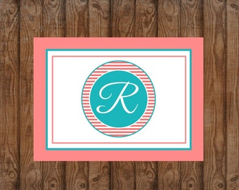 Monogrammed Cards | Personalized Cards | Folded Notecards | Teal and Coral | Thank you Cards | Notecards | Gifts