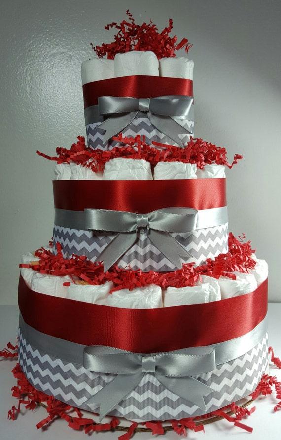3 Tier Diaper Cake Red Silver White Chevron