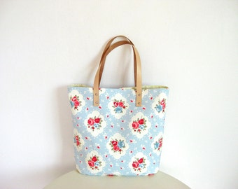 Floral Handbag, Pastel Canvas Tote Bag, Summer Wedding Gift, Beach Tote