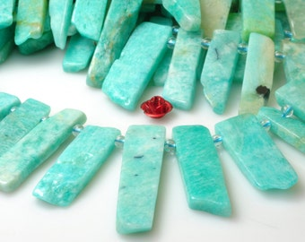 15 inches Amazonite Slabs Slices nugget smooth beads in 6-9mm wide X 16-35mm length