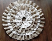 Burlap Linen velvet  40''-52'' christmas tree skirt - Choose diameter