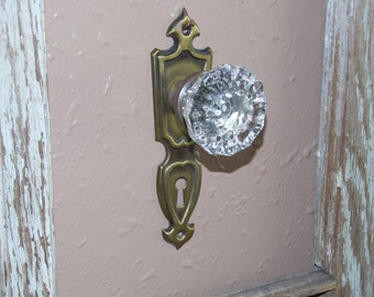 Antique Glass Door Knobs and Key Plates Wallhangers