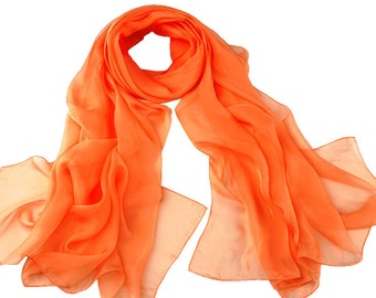 Orange Chiffon Scarf - Orange Headpiece - 30D9
