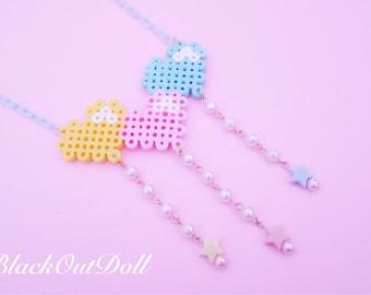 Triple Pastel Heart Balloon Perler Hama Beads Kawaii Harajuku Lolita Necklace
