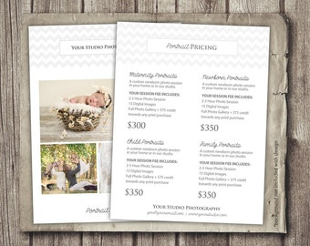 Photography Portrait Pricing - Photographer Price List - Marketing - Photoshop Template Photography Packages - INSTANT DOWNLOAD