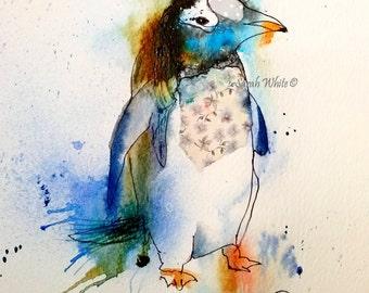 Polka Penguin  Giclee Prints