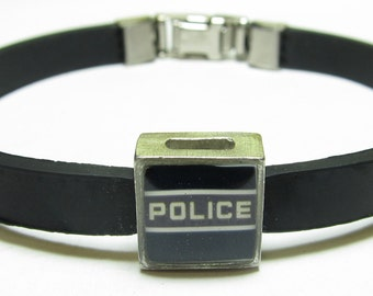 Police Officer Link With Choice Of Colored Band Charm Bracelet
