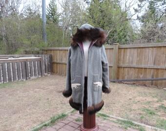 Vintage Parka,2 Piece Parka,Vintage Parka Set,Parka and Over Coat,Vintage Storybook Parka,Vintage Native Parka,Vintage Inuit Parka
