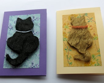 Cat card - Greeting card - birthday card - animal card - textile card - blank card  - hand crafted - handmade -  uk seller