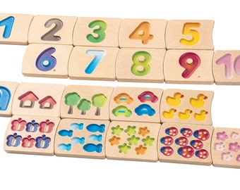 Numbers 1-10 - Natural Wood Baby Toy, Montessori Toy, Educational Toys, Wooden toy, Toddler wood Toy, Organic Toy, Waldorf Toy, Toy for kids
