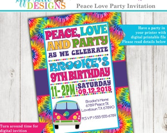 Tie Dye 60's Hippie Party Invitation - Peace - Love - Party - Printable Invitation