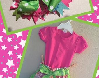 Girls Ruffle Shorts, Shirt & Matching Bow