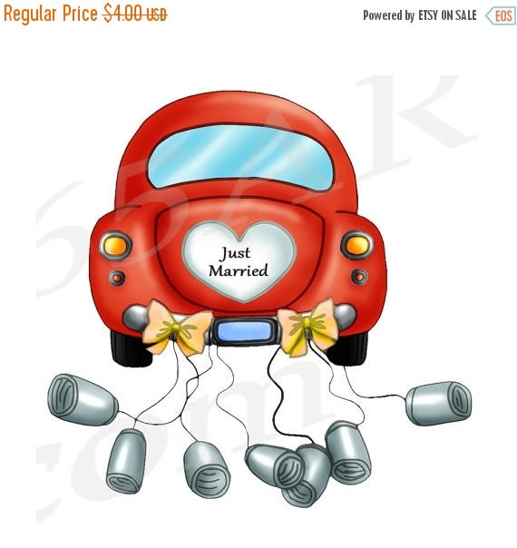 50% OFF SALE Just Married Car, Clipart Clip art, Wedding Car clipart ...