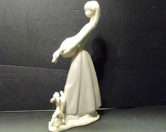 Final Clearance ~Nao~Lladro Girl with Goose and Dog ~retired
