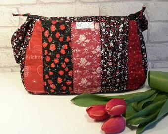 Black and red, handbag, valentines,  patchwork, shoulder bag, medium purse