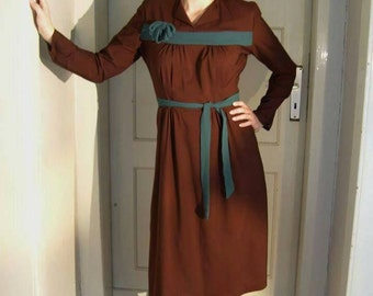 Long sleeve dress bordeaux & green M