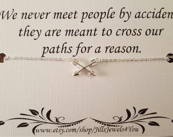 Best Friend Necklace, Long Distance Best Friend, Friendship Necklace, BFF Arrow Charm Necklace, Bridesmaid Gift, Graduation Gift, Going Away