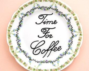 Time for Coffee Lover Gift for Her Caffiene Addict Present Decorative Plate Ornamental Vintage Dish Floral Trinket Holder Ring Box Caffine