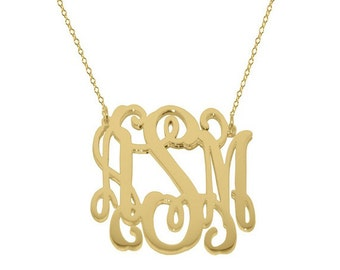 Monogram necklace 1 inch Personalized Monogram on 925 Sterling silver 18k Gold Plated Mothers day gift Bridesmaid necklace