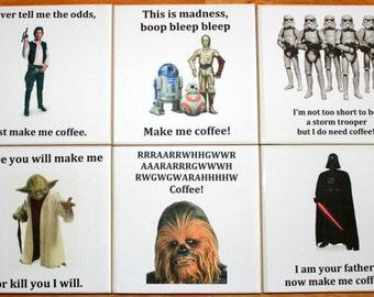 4 Star Wars Coasters,Set of Coasters,Drinks Coaster,Luke Skywalker,Darth Vader,Chewbacca,Storm Trooper,Secret Santa Present,Stocking Filler