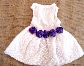 Dog dress | Purple Wedding | Purple bridesmaid dog dress | XS S M L | Purple Dog Flowergirl | Matching leash