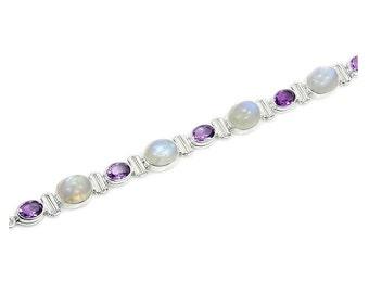 Moonstone, Amethyst & .925 Sterling Silver Bracelet , AD468