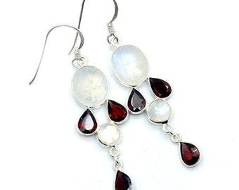 Rainbow Moonstone, Garnet & Sterling Silver Dangle Earrings ; U566