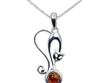 Cat Baltic Amber & .925 Sterling Silver Necklace , AD598X16 , AD598X18