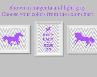 Girl's Room Horse Print, Set of Three Prints, Gray Chevron, Purple Girl's Room, Horse Pictures, Keep Calm and Ride On, Pony Prints, Canvas