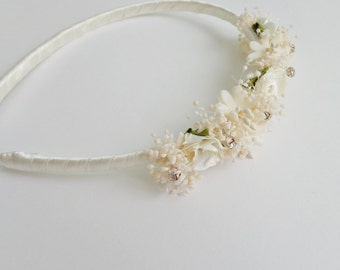 Ivory headband with flowers and small pearls, flower girls hairband, first communion headband, special event complement