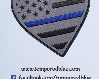 Thin Blue Line Heart Patch- Law Enforcement Support -Includes Shipping in the US