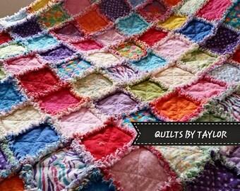 Flannel Rag Quilt, 57 X 59, Scrappy Flannel Rag Quilt, Large Lap Size, Rainbow Quilt, Rainbow Flannel