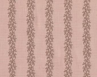 Moda Quilt Fabric - French General - Pom Pom De Paris - Vine Stripe on Salmon 13578-19 - By the Yard