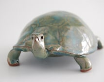 Turtle, ceramic teal green glaze on red clay OOAK
