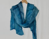 """Large silk scarf, shawl """"Red sea"""", Scarf natural silk, the big blue, turquoise, greenish scarf, accordion pleats scarf hand painted"""