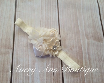 Ivory Headband, Flower Girl Headband, Baby Ivory Headband, Newborn Ivory Headband, Flower Headband, Holiday Headband, Christmas Headband